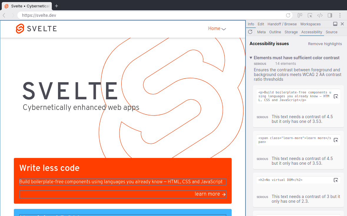 Accessibility panel showing issues on the Svelte.dev website