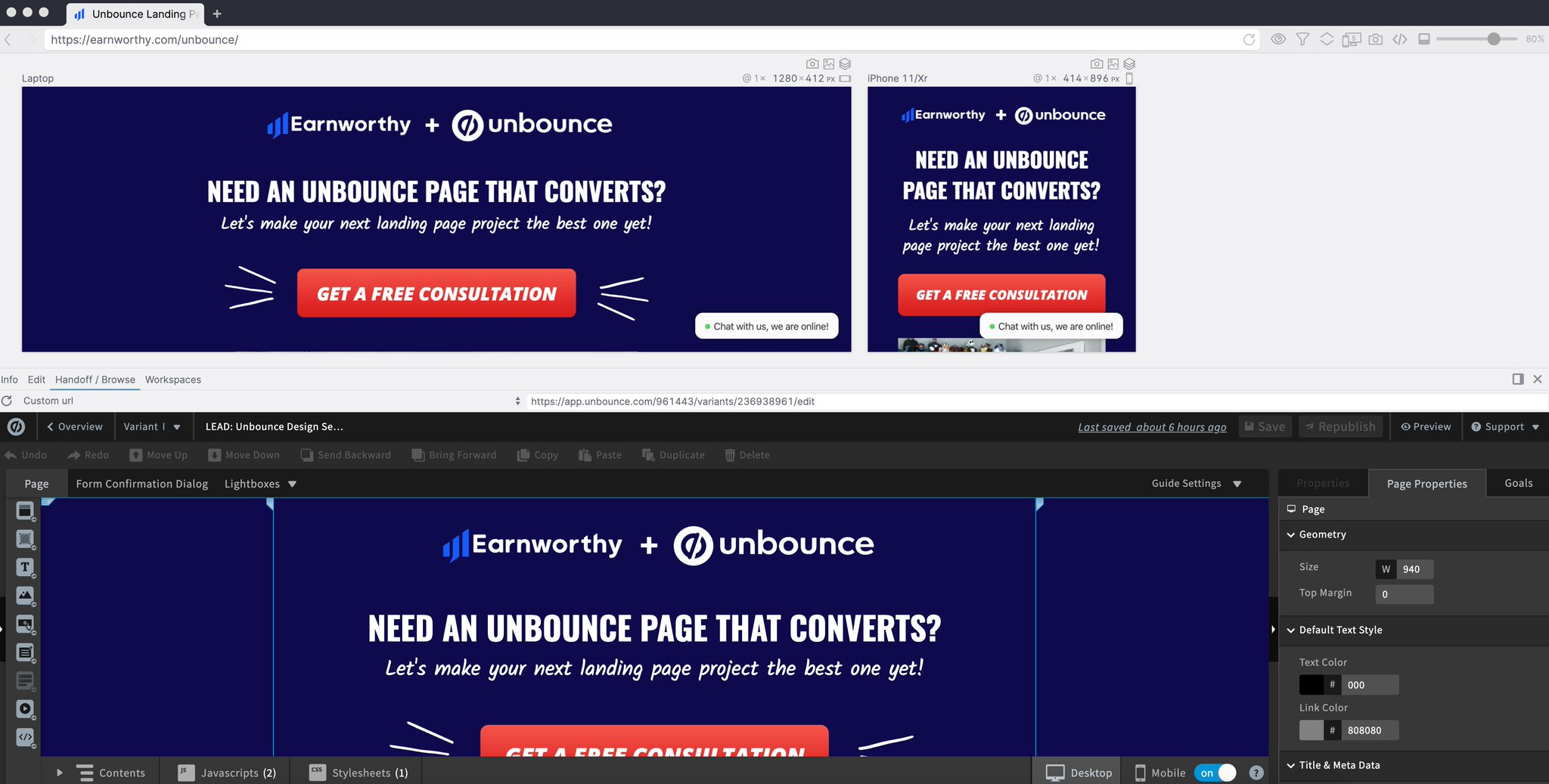 Polypane showing Earnworthy's Unbounce editor and preview